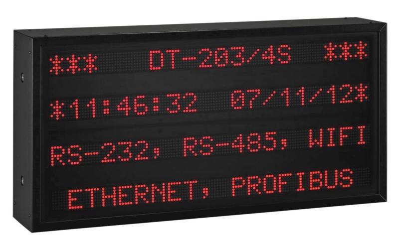 Afficheur Grand Format de mesures de température hygrométrie pression texte alphanumérique entrée ethernet profibus rs-485 rs-232 wifi