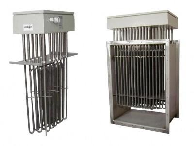 Batterie électrique rectangulaire en gaine pour chauffage d'air et gaz