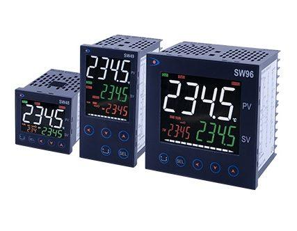 Régulateurs électroniques rail DIN ou encastrés pour sonde pt100 thermocouple hygrométrie de pression entrée numérique ou analogique 230V 24V
