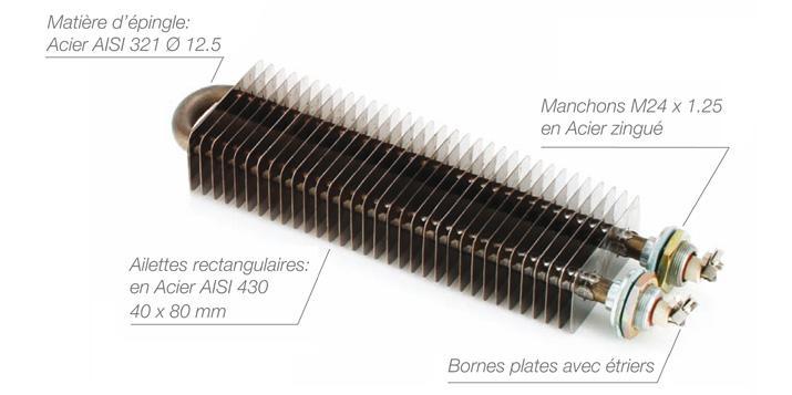 Résistances électrique à ailettes rectangulaires maintient en température chauffe d'air et de gaz mise hors gel - EICSO Distribution