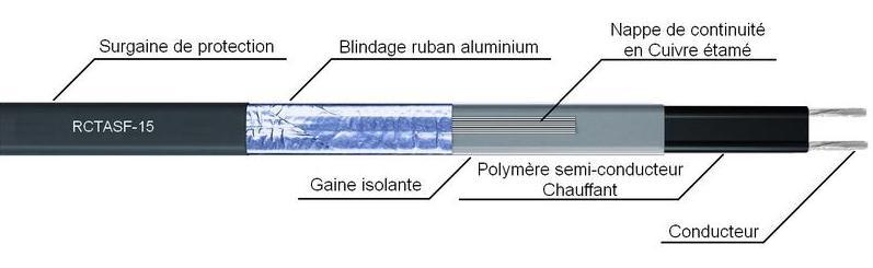 Câble chauffant auto-régulant RCTASF15 cordon régulant électrique mise hors gel maintient en température T°C - EICSO Distribution